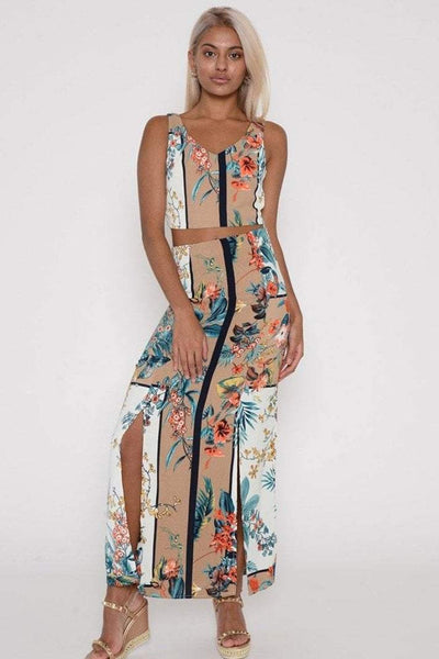 Apricot Floral Crop And Maxi Skirt Co-ord