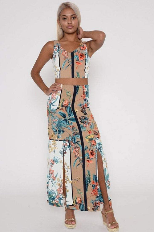 Apricot Floral Crop And Maxi Skirt Co-ord - KATCH ME