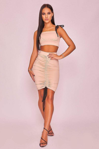 Apricot Ruched Slinky Crop Top