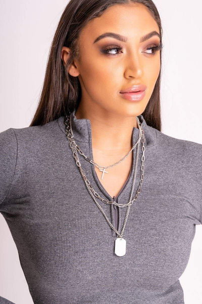 Astrid Silver Dog Tag Layered Necklace