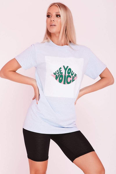 Baby Blue Relaxed Fit Graphic T-Shirt- Natalie