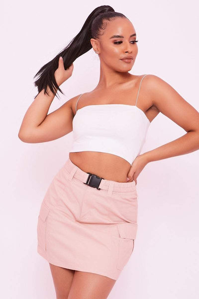 Baby Pink Buckle Front Utility Skirt - Gianna