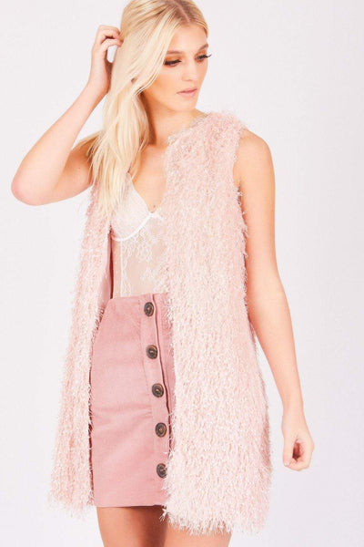 Baby Pink Fluffy Long-line Gilet