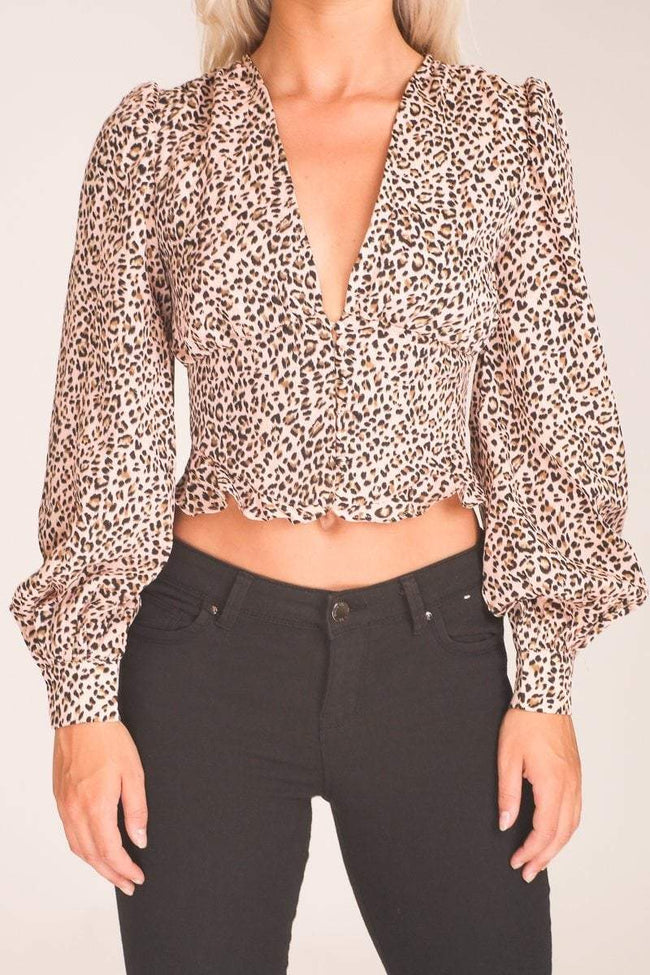 Baby Pink Leopard Print Button Up Crop Top - KATCH ME