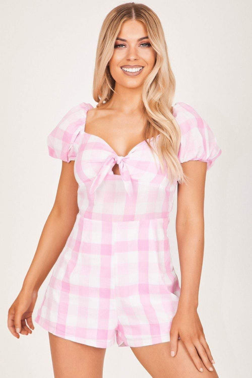 Baby Pink Puff Sleeve Gingham Playsuit - KATCH ME
