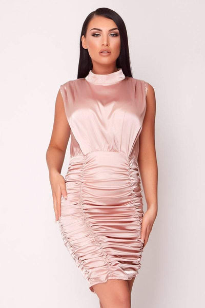 Baby Pink Ruched Front Satin Mini Dress