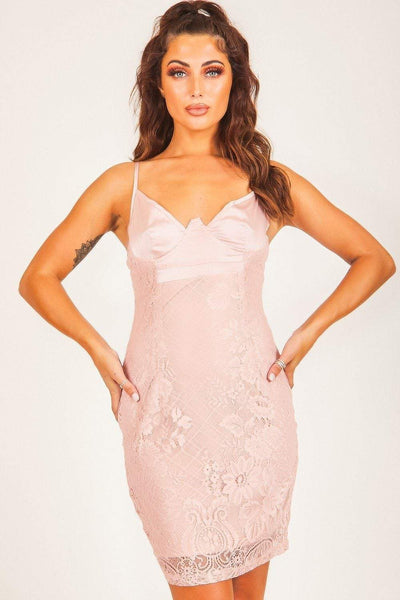 Baby Pink Satin Bustier Lace Bodycon Dress