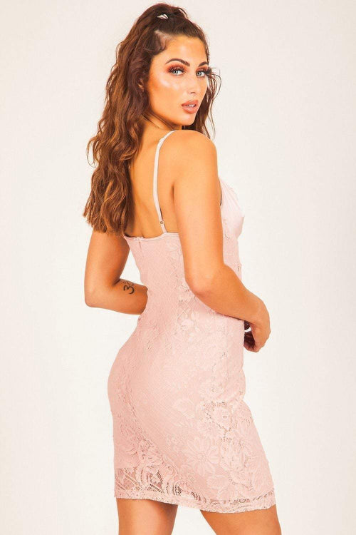 Baby Pink Satin Bustier Lace Bodycon Dress - KATCH ME