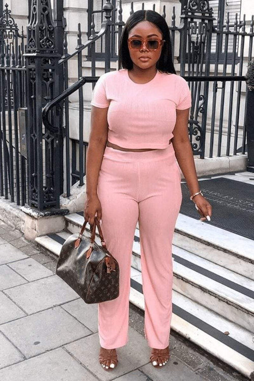 Baby Pink Soft Pleated Wide Leg Trousers - KATCH ME
