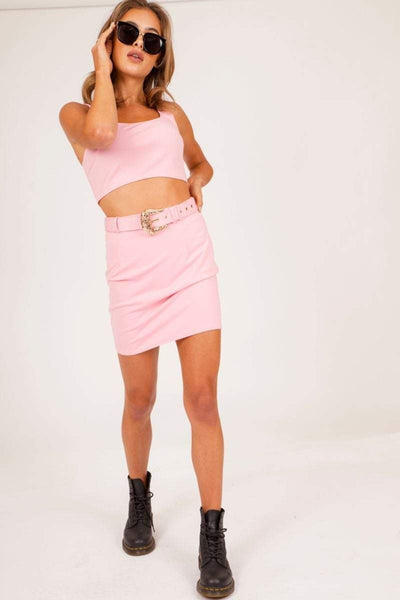 Baby Pink Western Buckle Co-ord