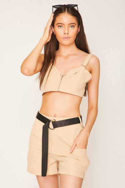 Beige Belted Utility Shorts