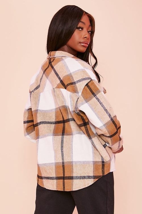 Beige Checked Shacket - Saya - KATCH ME