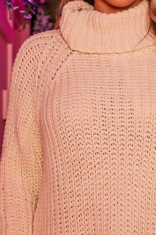 Beige Chunky Knit Dress - Mollie - KATCH ME