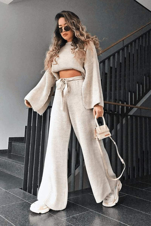 Beige Chunky Knit Loungewear Set - KATCH ME