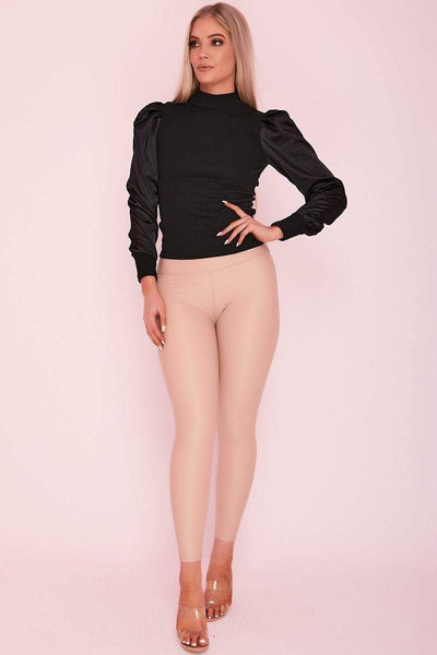 Beige Faux Leather High Waisted Leggings