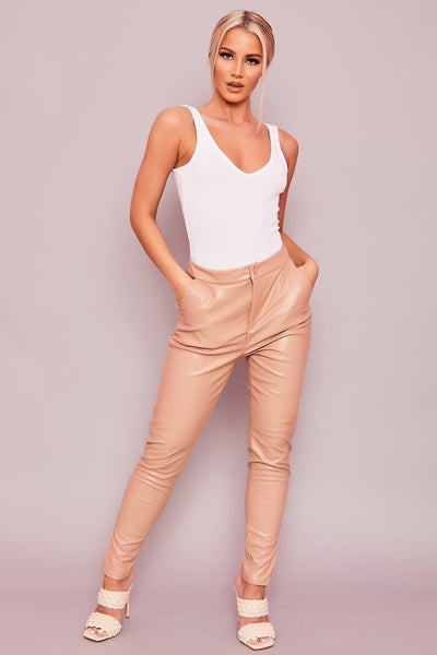 Beige Faux Leather Trousers - Katrina