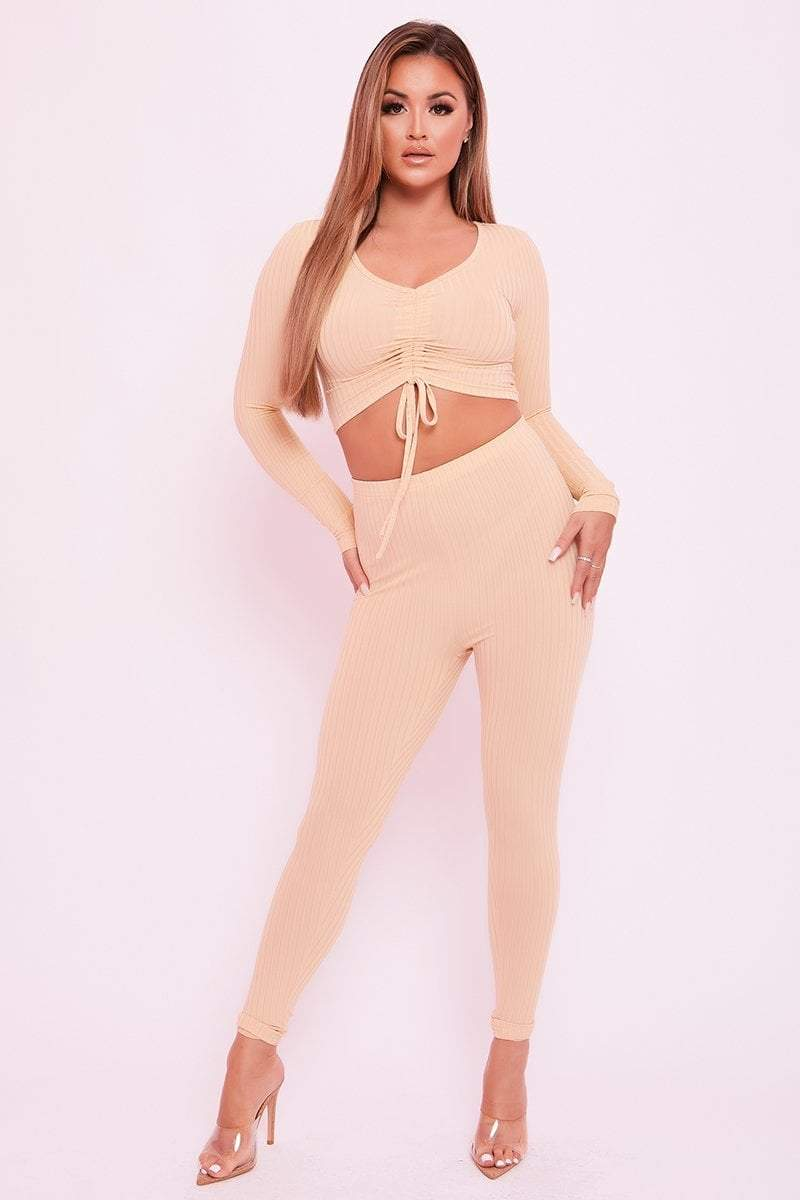 Beige Long Sleeve Drawstring Crop - Jamie - KATCH ME