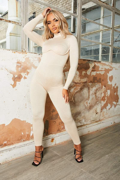 Beige Long Sleeve Underwired Jumpsuit - Addyson