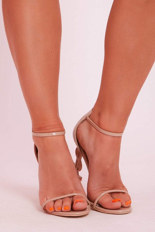 Beige Patent Shaped Heel Open Toe Shoes- Layla - KATCH ME