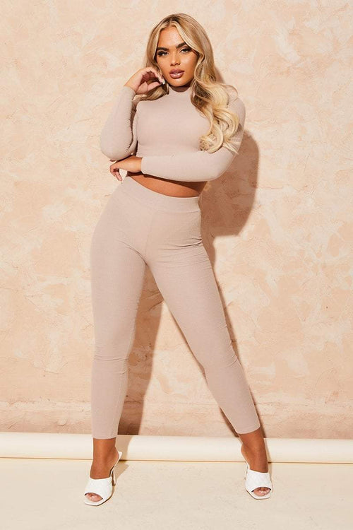 Beige Ribbed Co-Ord Set - Kenely - KATCH ME