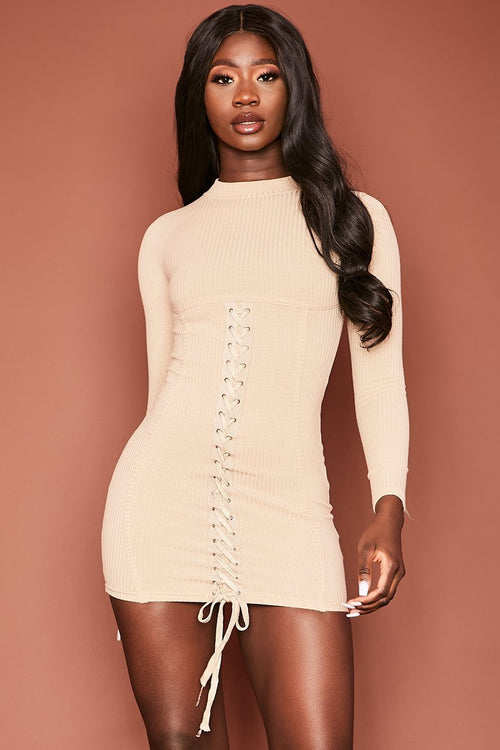 Beige Ribbed Lace Up Mini Dress - Ophelia - KATCH ME