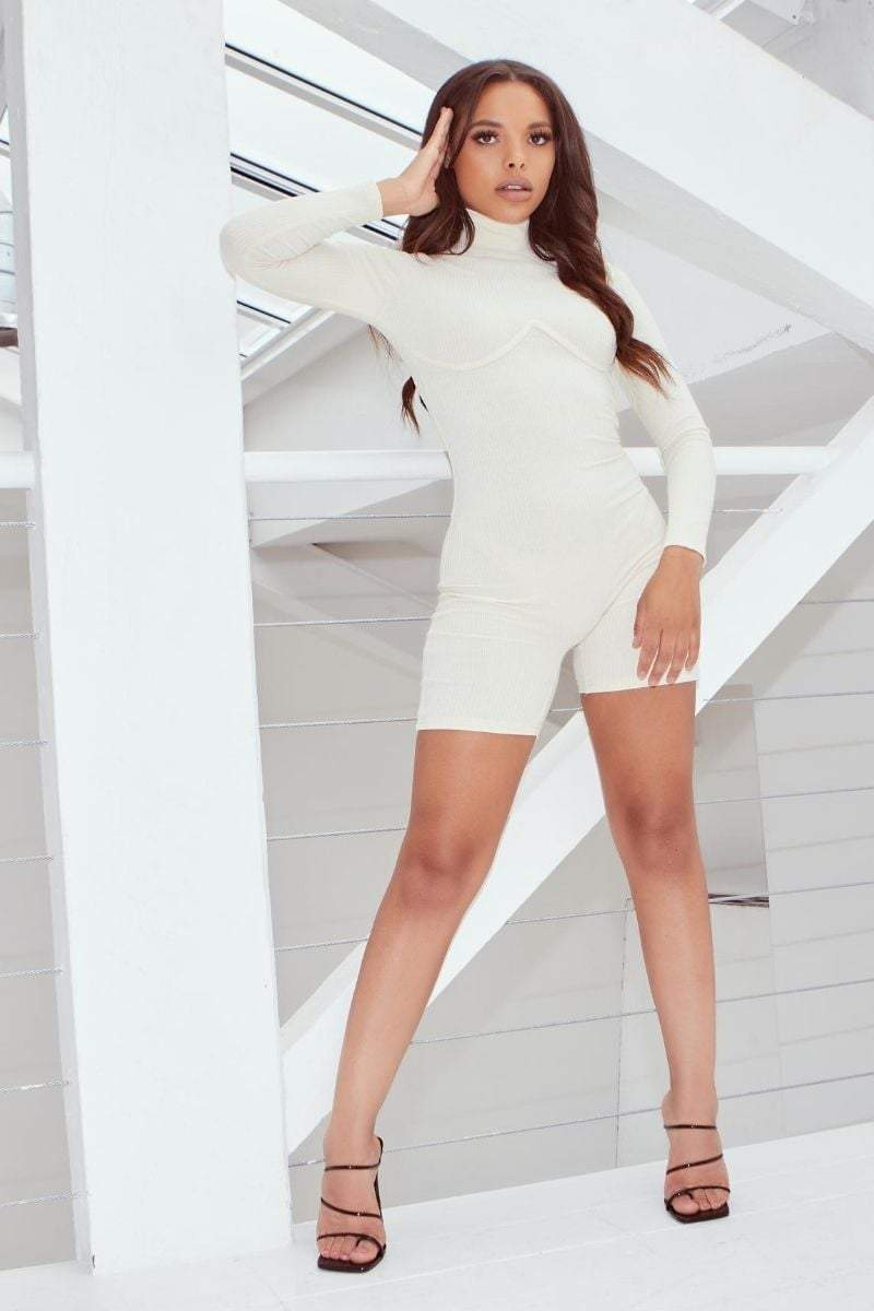 Beige Ribbed Seam Detail Mock Neck Playsuit- Annabel - KATCH ME