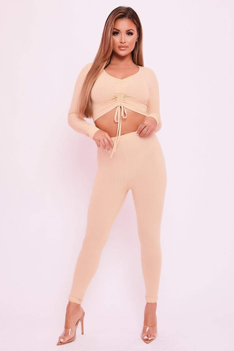 Beige Ribbed Trousers - Jamie - KATCH ME