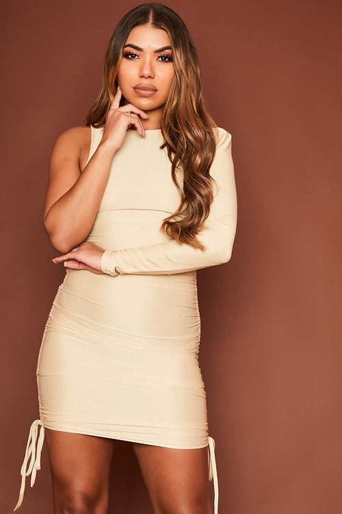 Beige Ruched One Sleeved Dress - Naya - KATCH ME