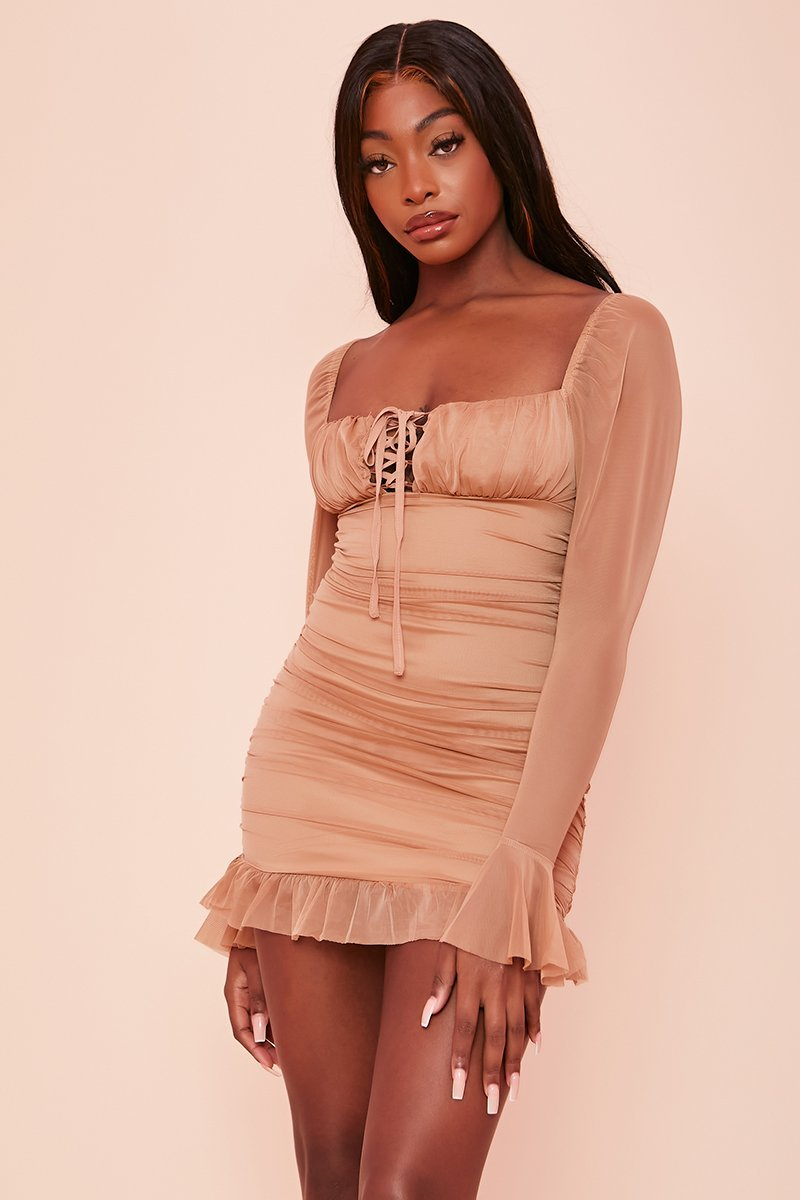 Beige Ruched Princess Style Dress - Moira - KATCH ME