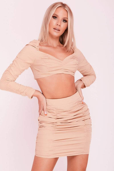 Beige Square Puff Sleeve Ruched Front Co-ord- Brielle