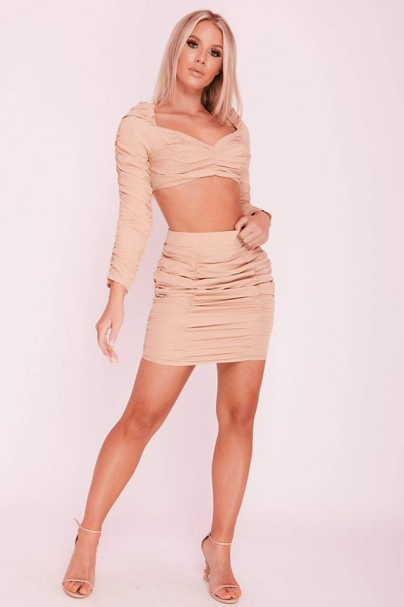 Beige Square Puff Sleeve Ruched Front Co-ord- Brielle - KATCH ME