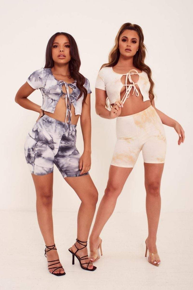 Beige Tie Dye Ribbed Cycling Shorts - Faye - KATCH ME