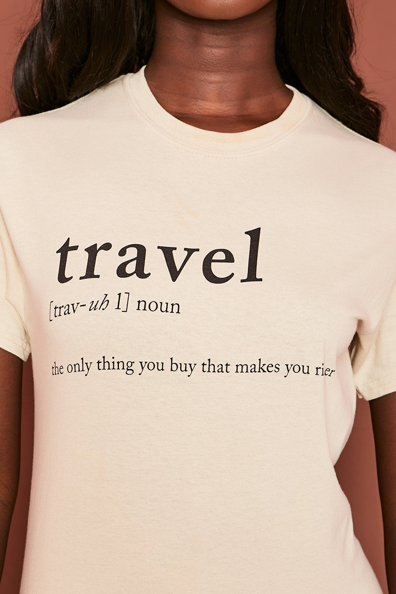Beige Travel Graphic Tee - Corinna - KATCH ME