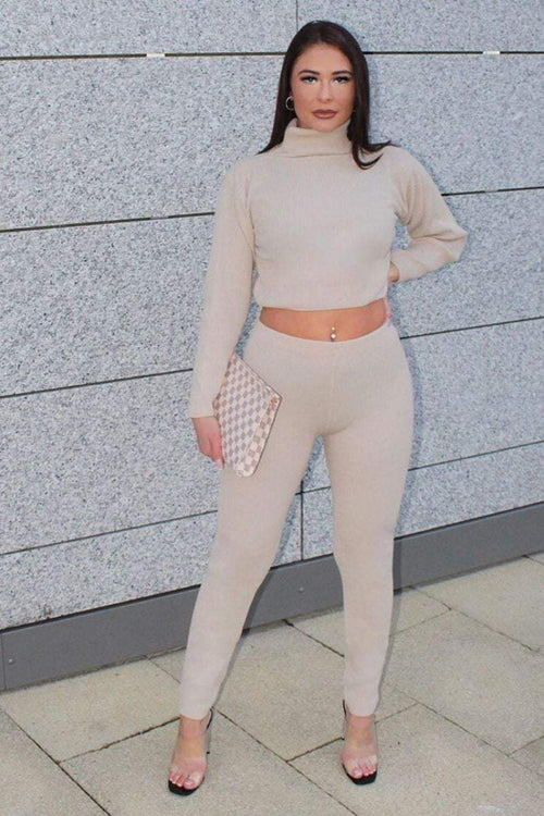 Beige Turtle Neck Loungewear Set - KATCH ME