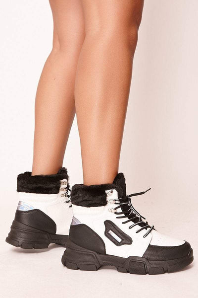 Billie Black & White Lace Up Hiker Ankle Boots