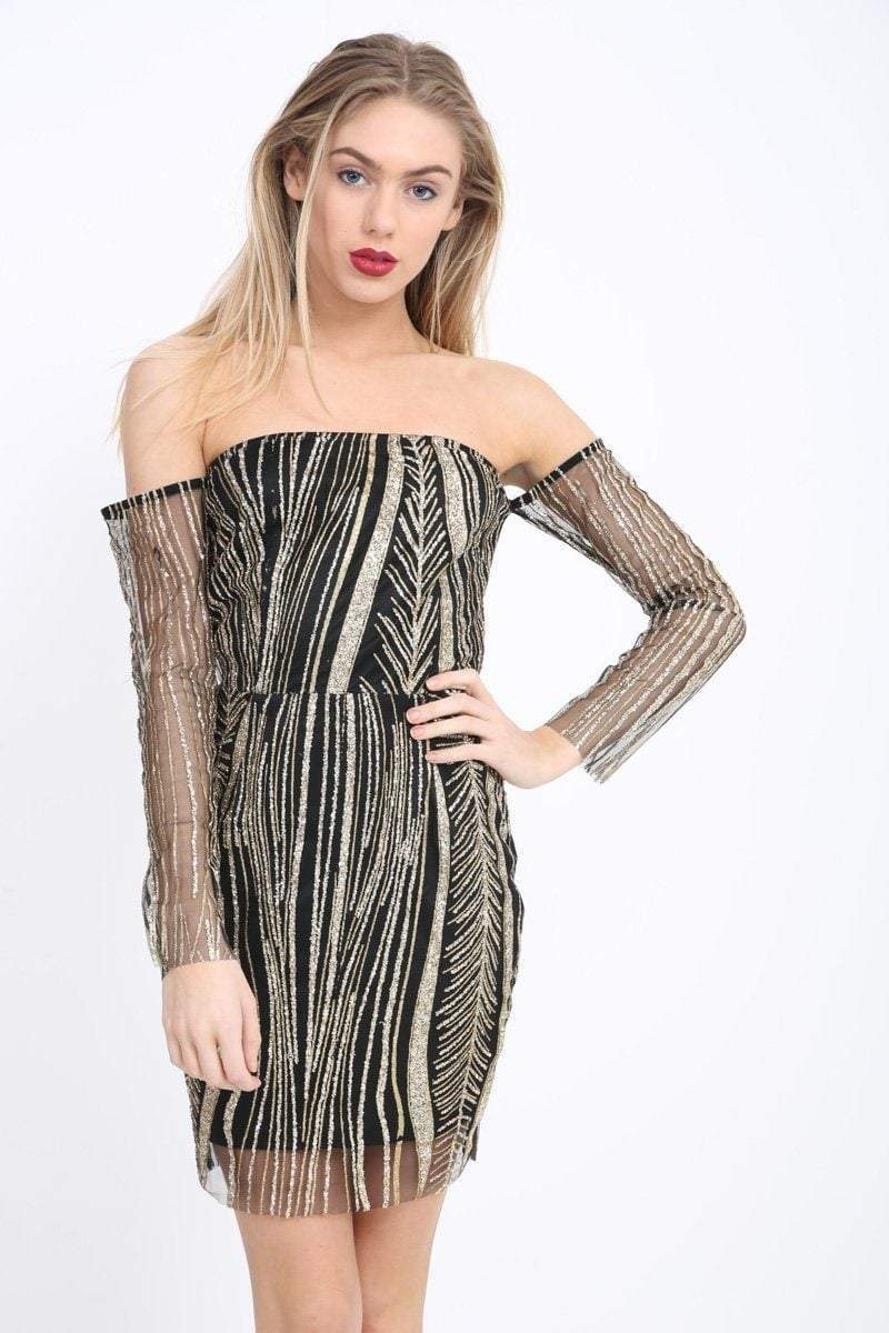 Black And Gold Glitter Off The Shoulder Dress - KATCH ME