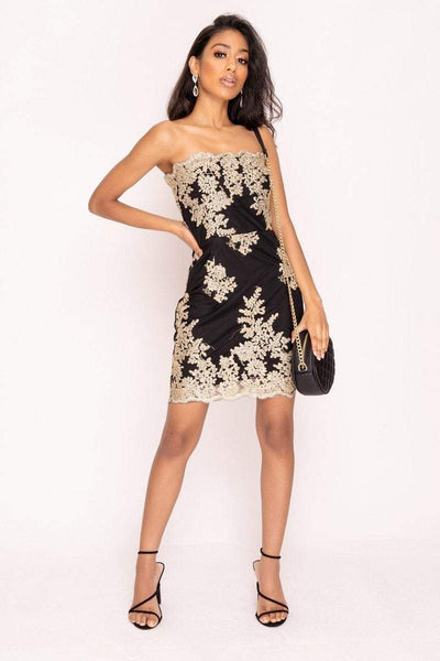 Black And Gold Lace Strapless Dress