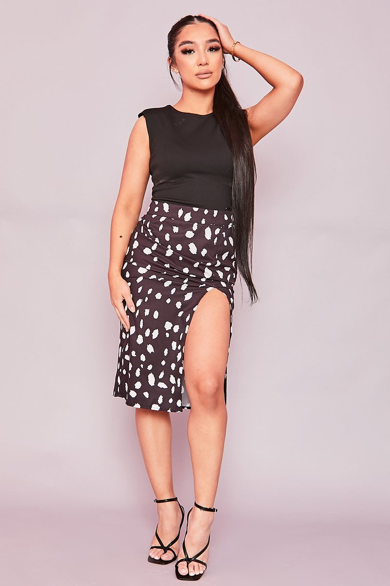 Black Animal Print Side Slit Midi Skirt- Tulisa - KATCH ME