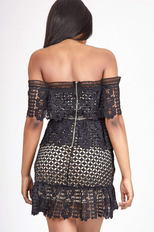 Black Bardot Crochet Dress - KATCH ME