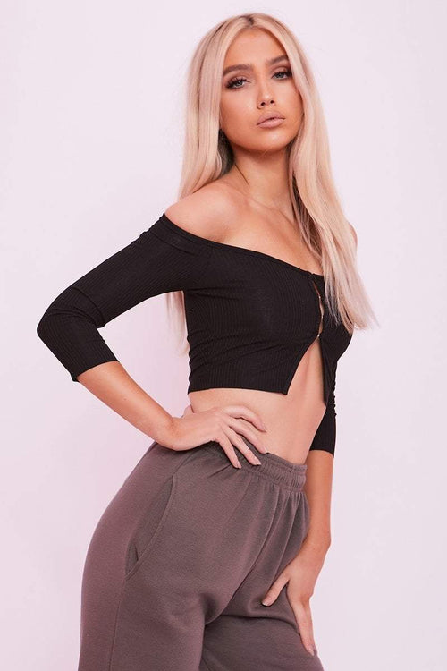 Black Bardot Hook & Eye Crop Top- Isolde - KATCH ME