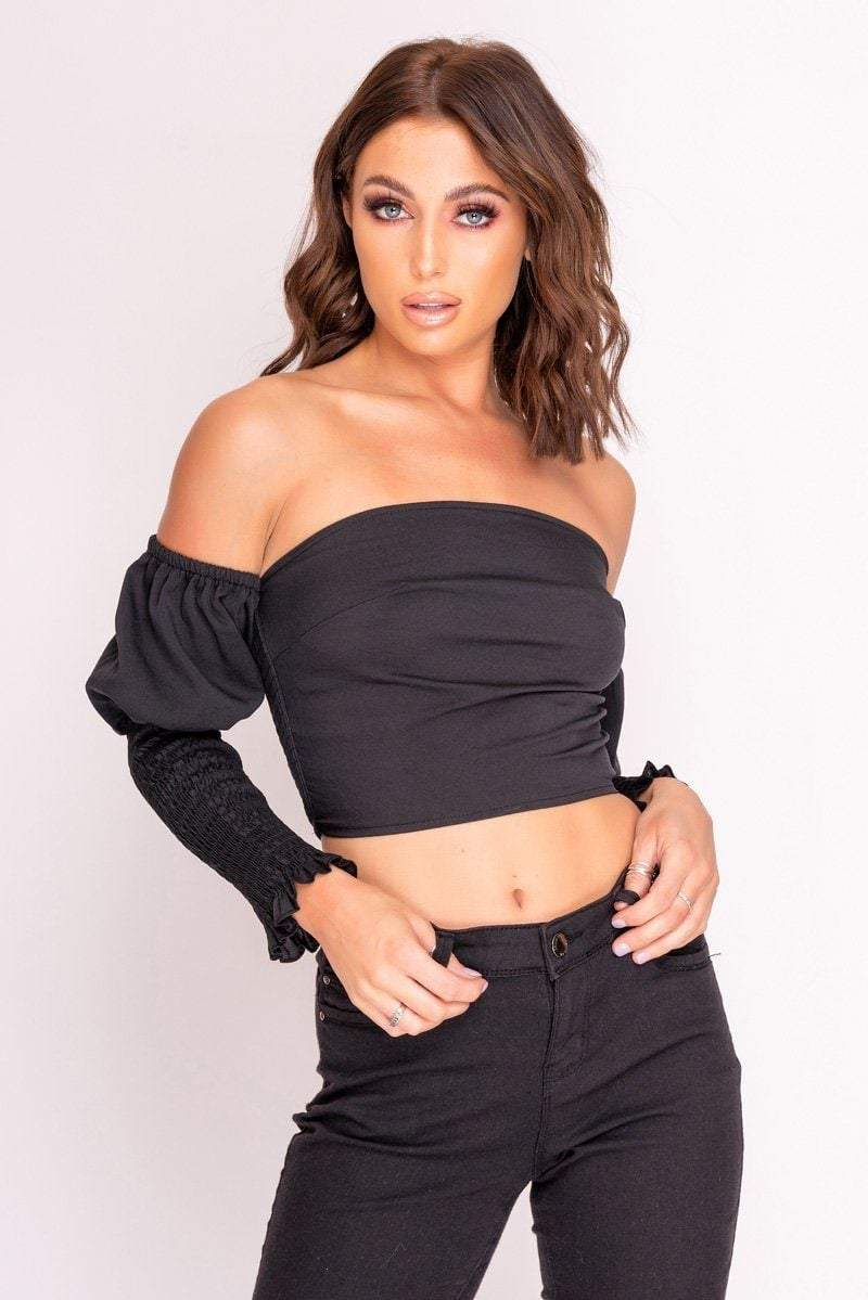 Black Bardot Puff Sleeve Crop Top - KATCH ME