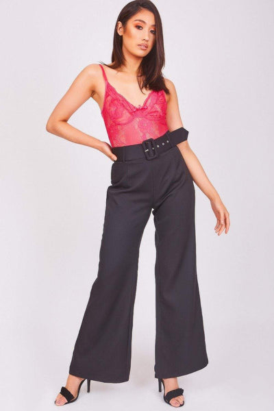 Black Belted Flared Trousers