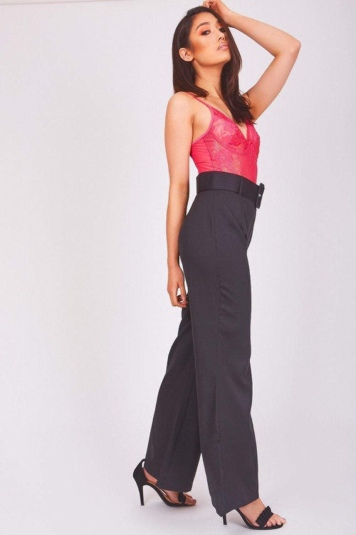 Black Belted Flared Trousers - KATCH ME