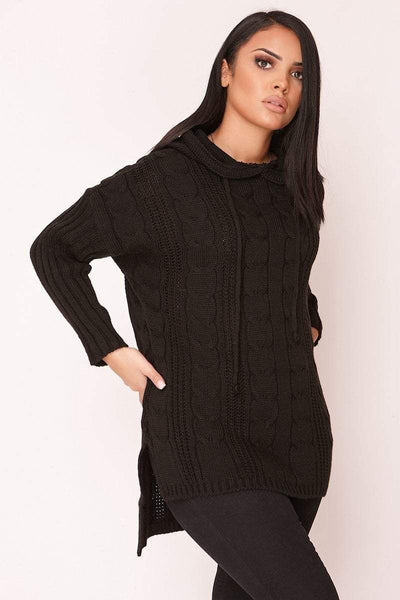 Black Cable Knit Hooded Jumper