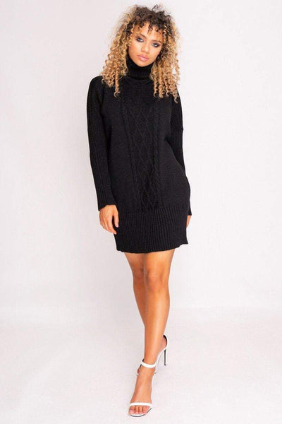 Black Cable Knit Roll Neck Jumper Dress - HACHU