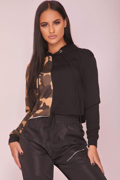 Black & Camo Contrast Cropped Hoodie