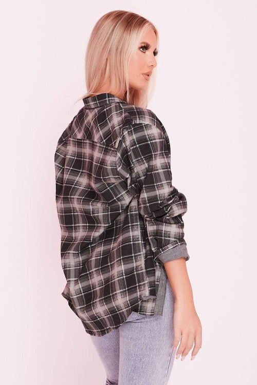 Black Check Oversized Boyfriend Shirt- Aurora - KATCH ME