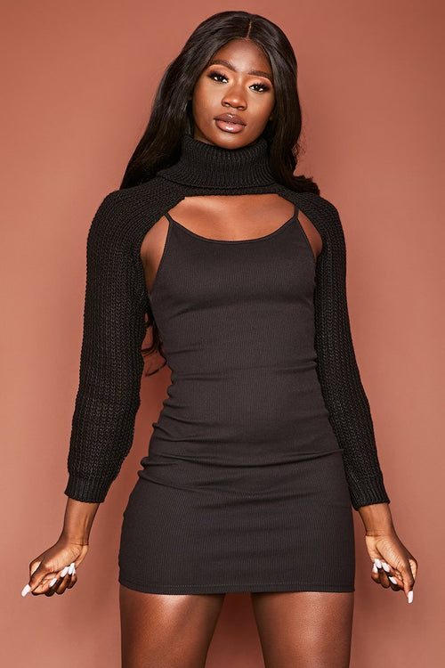 Black Chunky Knit Arm Warmer Top - Effie - KATCH ME