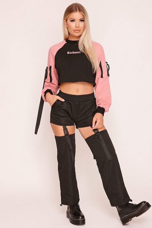 Black Cut Out Buckle Strap Cargo Trousers - KATCH ME