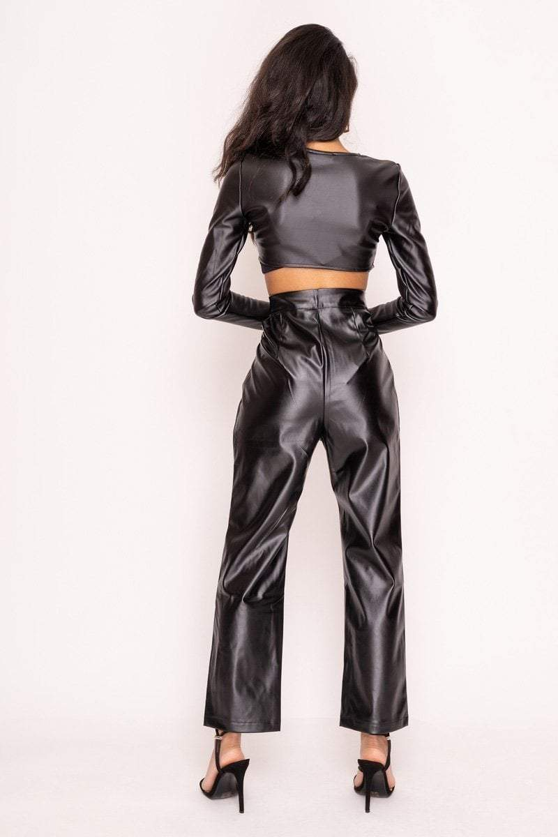 Black Cut Out Vinyl High Waisted Trousers - KATCH ME